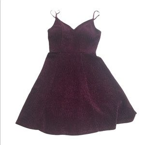 Honey and Rosie Burgundy Sparkle Cocktail Party Dress
